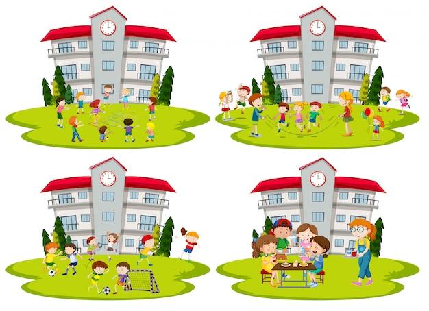Schüleraktivität in der schule Kostenlosen Vektoren