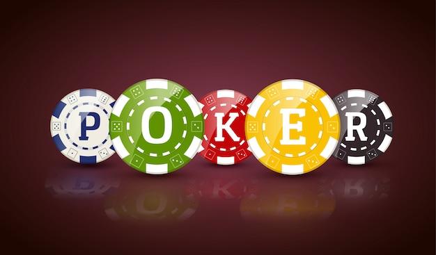 Schürhakenchips mit wort poker Premium Vektoren