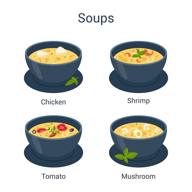 Schüssel mit heißer leckerer suppe. sammlung von suppe und zutaten. tomaten und kartoffeln, zwiebeln und karotten. Premium Vektoren