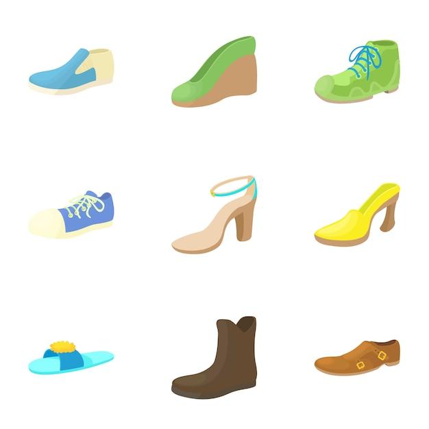 Schuhe eingestellt, karikaturart Premium Vektoren