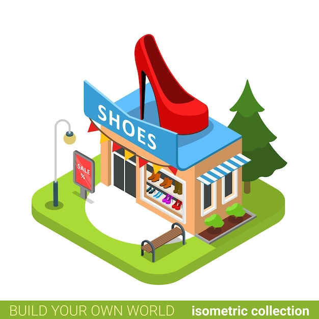 Schuhe stiefel mode boutique shop schuhform gebäude immobilien immobilienkonzept. Premium Vektoren