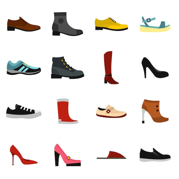 Schuhikonen eingestellt in flachen stil Premium Vektoren