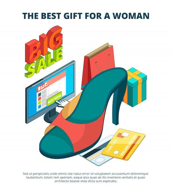 Schuhmarkt. illustration 3d des männlichen und weiblichen fußes der zufälligen kleidung lädt isometrisches übergrößenbild der sandalen auf Premium Vektoren