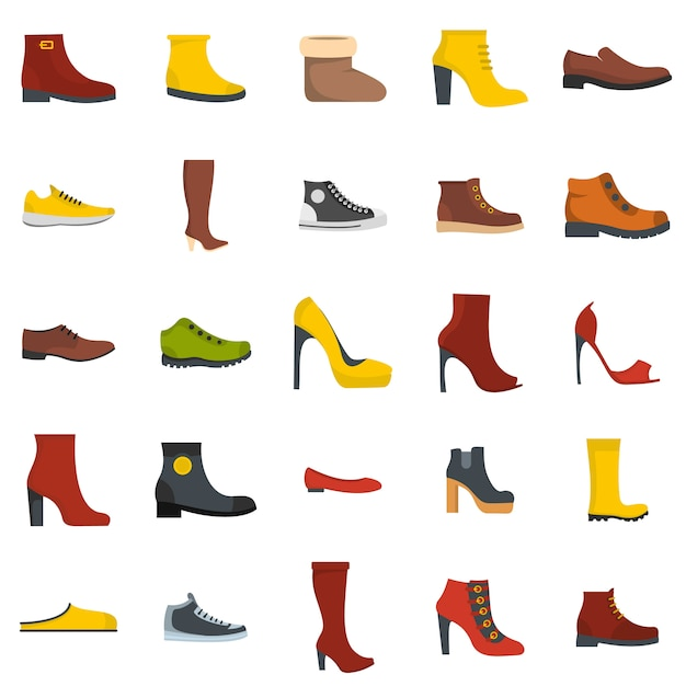 Schuhschuhikonensatz lokalisiert Premium Vektoren