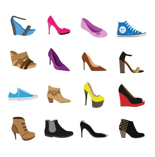 Schuhset isoliert Premium Vektoren