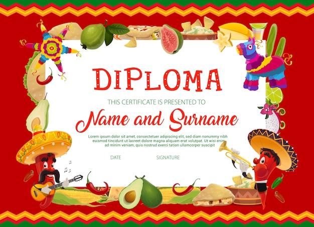 Schulausbildungsdiplomschablone mit karikatur cinco de mayo feiertags-chilischoten im sombrero, das gitarre und trompete, früchte, mais, mexikanisches essen und pinata spielt. schulzeugnis oder rahmen Premium Vektoren