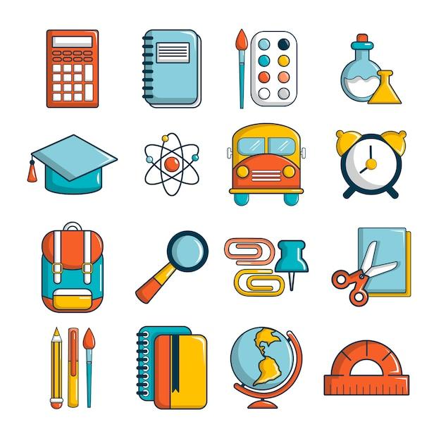 Schulbildungsikonen eingestellt Premium Vektoren