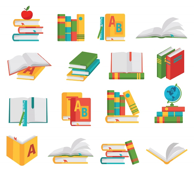 Schulbücher elemente set Kostenlosen Vektoren