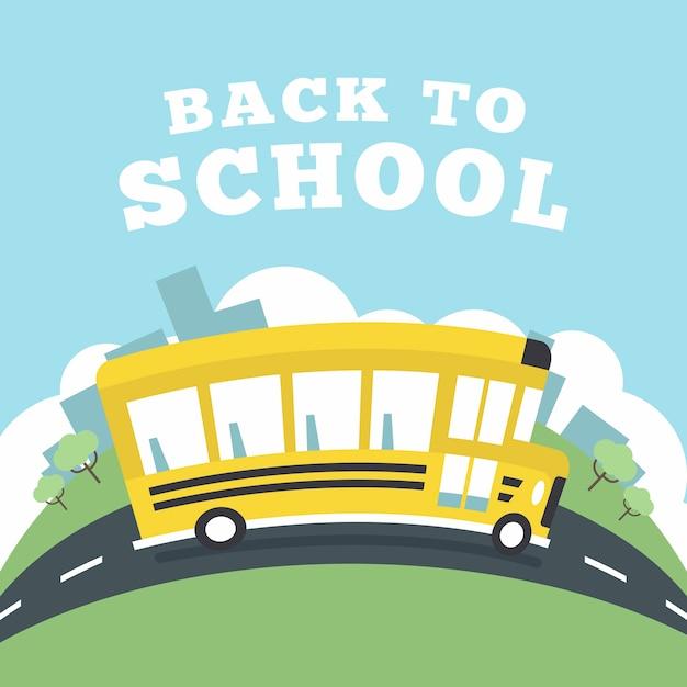 Schulbus, der zur schule läuft. Premium Vektoren