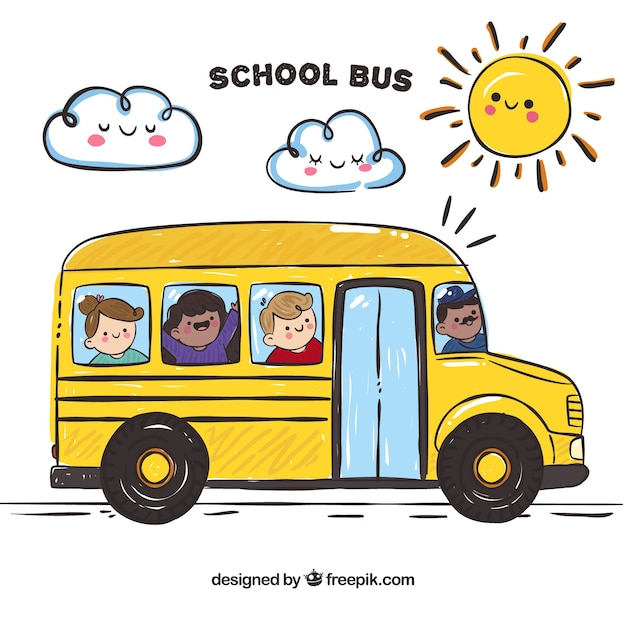 Schulbus mit glücklichen kindern Kostenlosen Vektoren