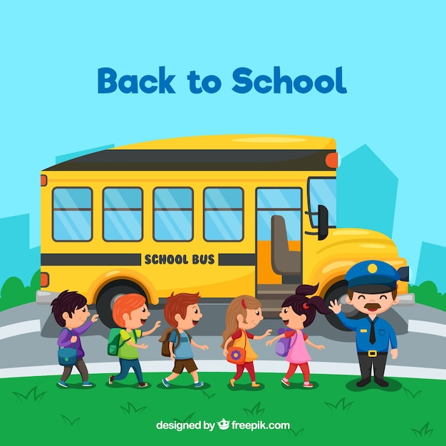 Schulbus und kinder mit flachem design Kostenlosen Vektoren