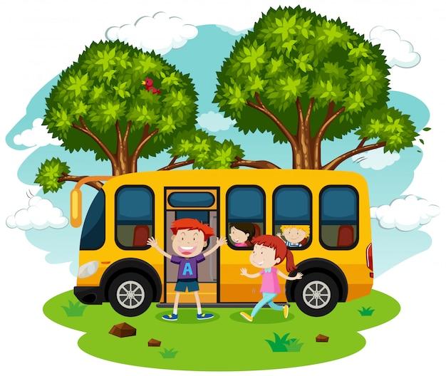 Schulbus und studenten Premium Vektoren