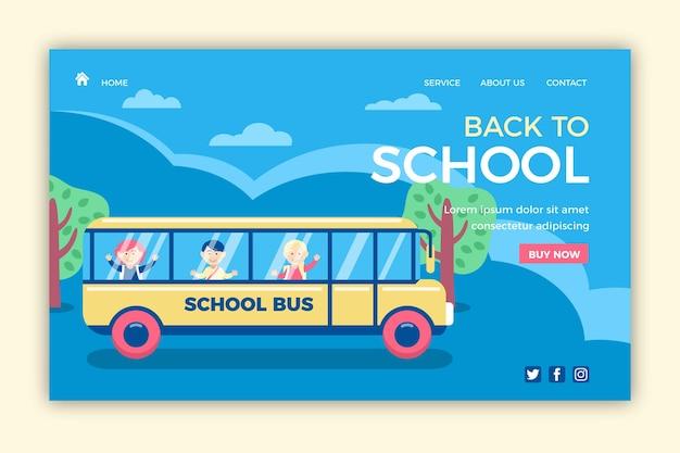 Schulbus zurück zur zielseite der schule Kostenlosen Vektoren