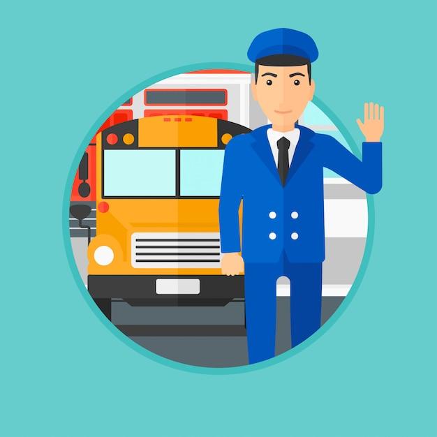 Schulbusfahrer. Premium Vektoren