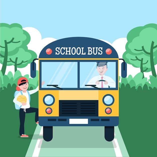 Schulbuskonzept der vorderansicht Kostenlosen Vektoren