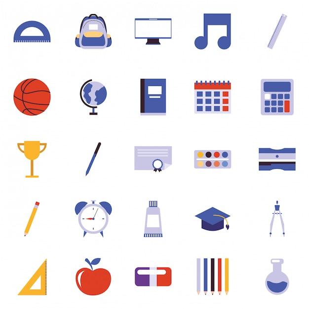 Schule cartoon icons vektor Premium Vektoren