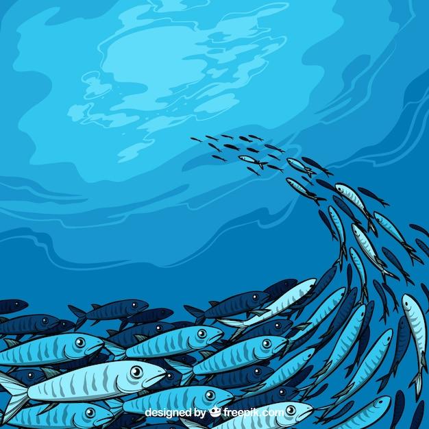 Schule der gezeichneten art des fische hintergrundes in der hand Kostenlosen Vektoren