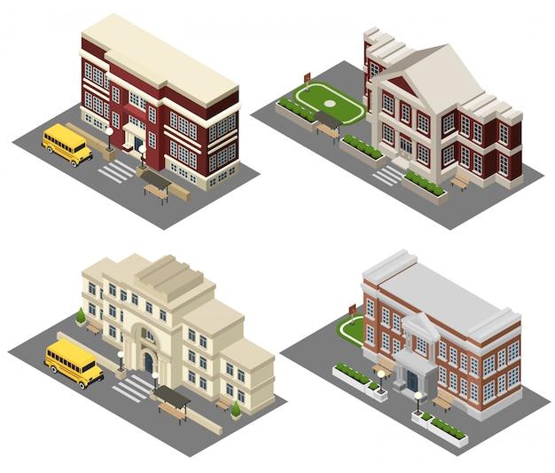 Schule isometrische icons set Kostenlosen Vektoren