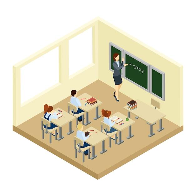 Schule isometrische illustration Kostenlosen Vektoren