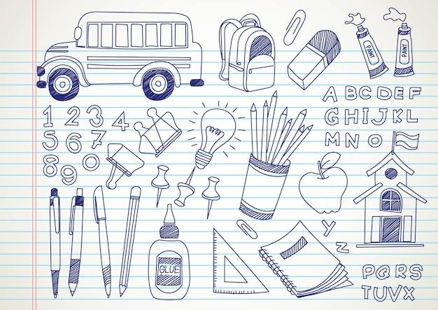 Schule kritzeleien Premium Vektoren