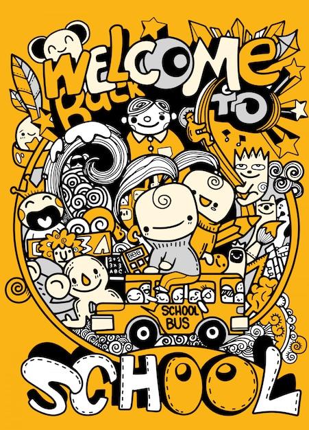 Schule kritzelt illustration, den tag der gezeichneten wissenshand Premium Vektoren