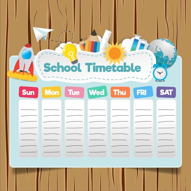 Schule stundenplan vorlage Premium Vektoren