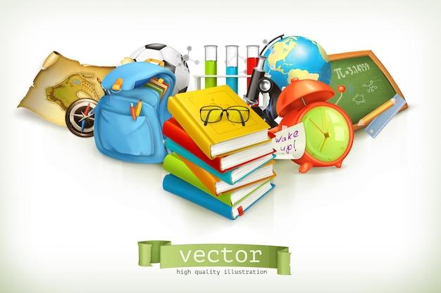 Schule und bildung, vektorillustration lokalisiert auf weiß Premium Vektoren
