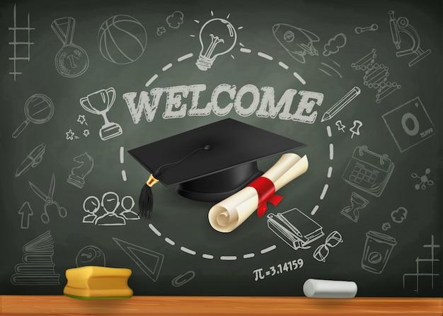 Schule und lernen, zurück zum schulhintergrund Premium Vektoren