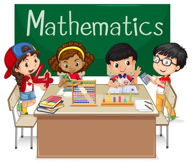 Schulfach Für Mathematik Mit Kindern In Der Klasse Download Der