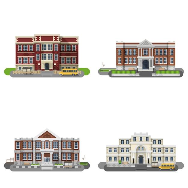 Schulgebäude flat set Kostenlosen Vektoren