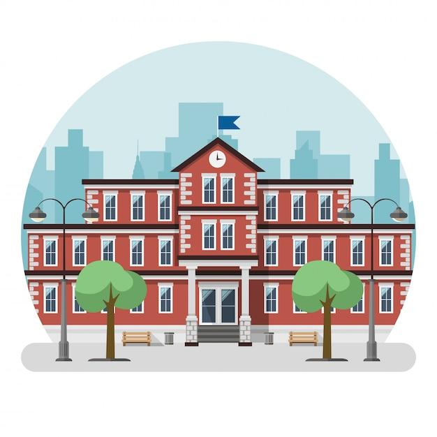 Schulgebäude in einer großstadt. vektor-illustration Premium Vektoren