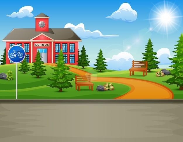 Schulgebäude mit schöner natur Premium Vektoren