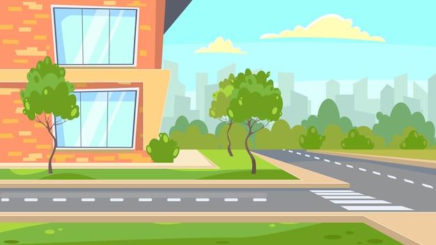 Schulgebäude nahe straßenillustration Kostenlosen Vektoren