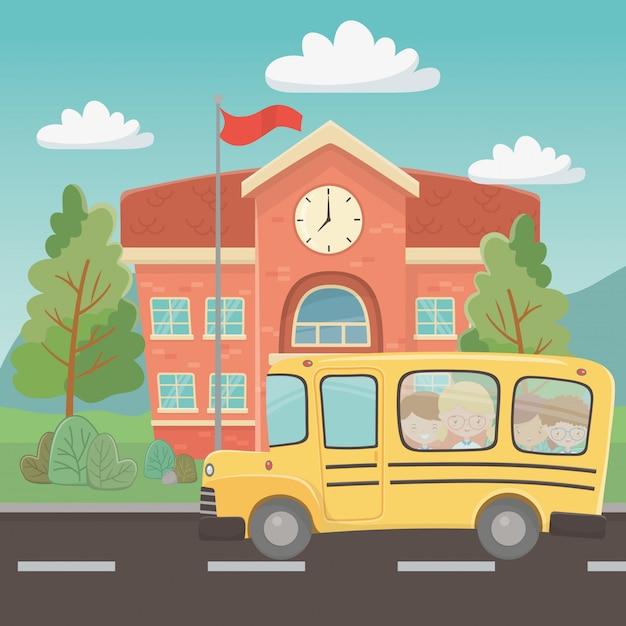 Schulgebäude und bus Kostenlosen Vektoren