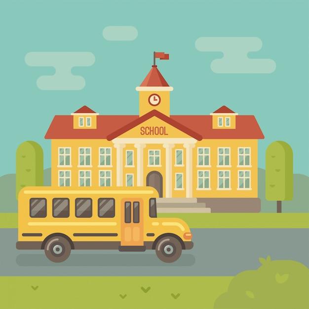 Schulgebäude und flache illustration des gelben schulbusses Premium Vektoren