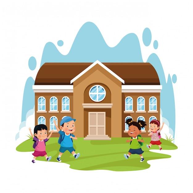 Schulgebäude und glückliche kinder Premium Vektoren