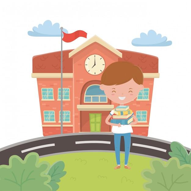 Schulgebäude und jungenkarikatur Kostenlosen Vektoren