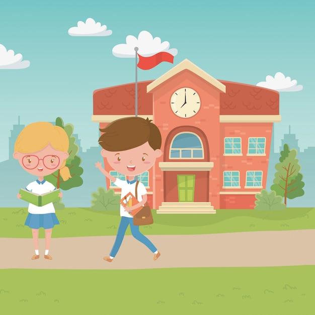 Schulgebäude und kinder Kostenlosen Vektoren