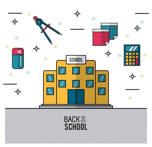 Schulgebäude und radiergummi kompassplaketten und taschenrechner Premium Vektoren