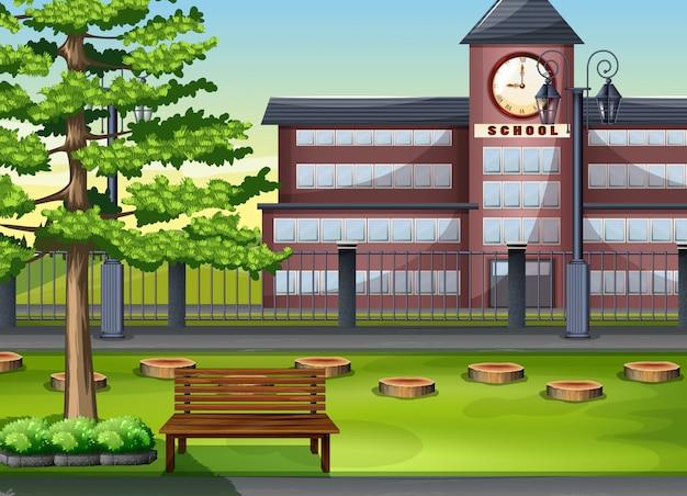 Schulgebäude und spielplatz Premium Vektoren