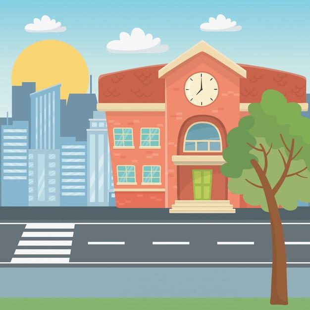 Schulgebäudedesign-vektorillustration Kostenlosen Vektoren