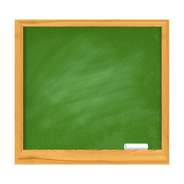 Schulgrünes brett mit hölzernen grenzen und stück kreide Premium Vektoren