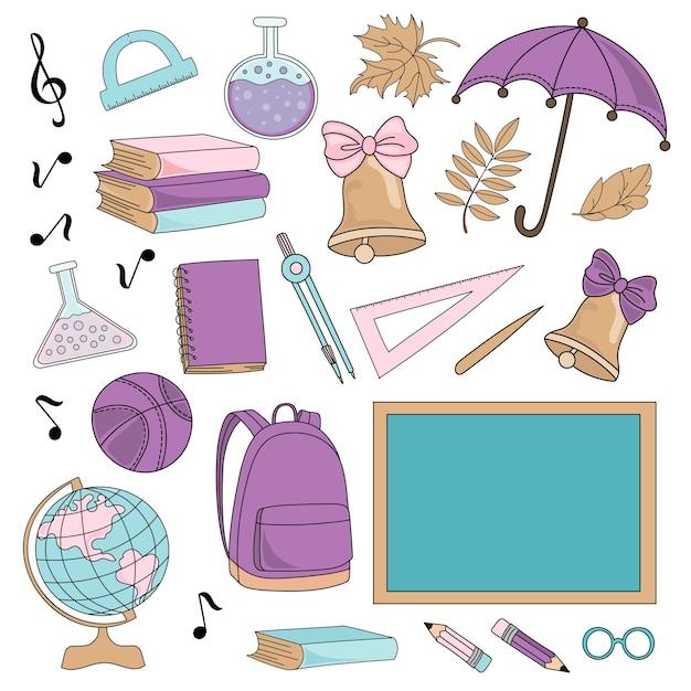 Schulherbst-vektor-illustrations-set schule-lieferungen Premium Vektoren