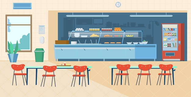 Schulkantine interieur. flache illustration. Premium Vektoren