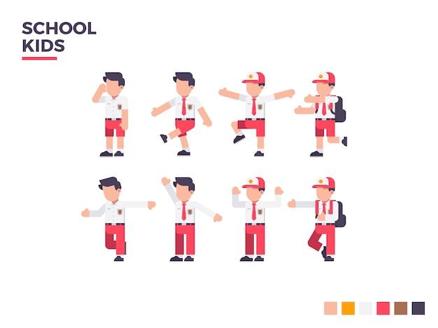 Schulkind-charakter. unterschiedlicher haltungscharakter vektor-flache illustration. Premium Vektoren