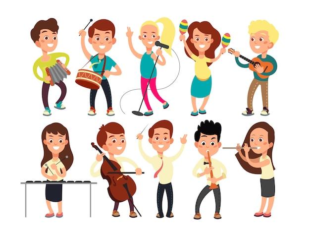 Schulkinder, die musik auf der bühne spielen. kindermusiker, die musikshow durchführen Premium Vektoren