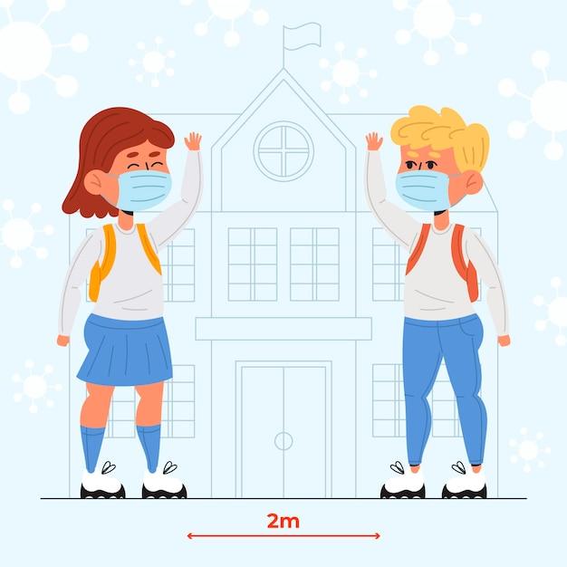 Schulkinder grüßen in der neuen normalität Kostenlosen Vektoren