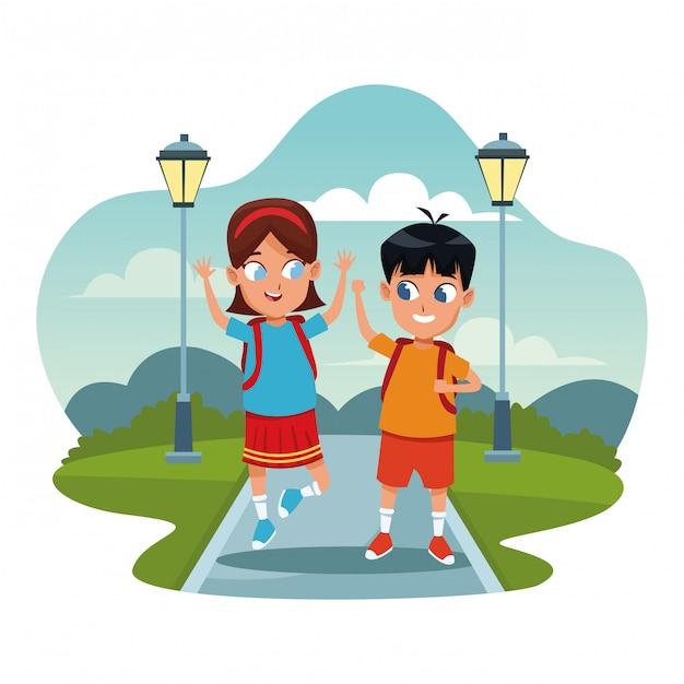 Schulkinder mit rucksack cartoons Kostenlosen Vektoren