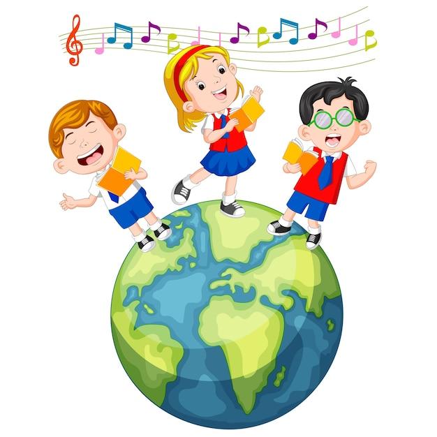 Schulkinder singen auf dem globus Premium Vektoren