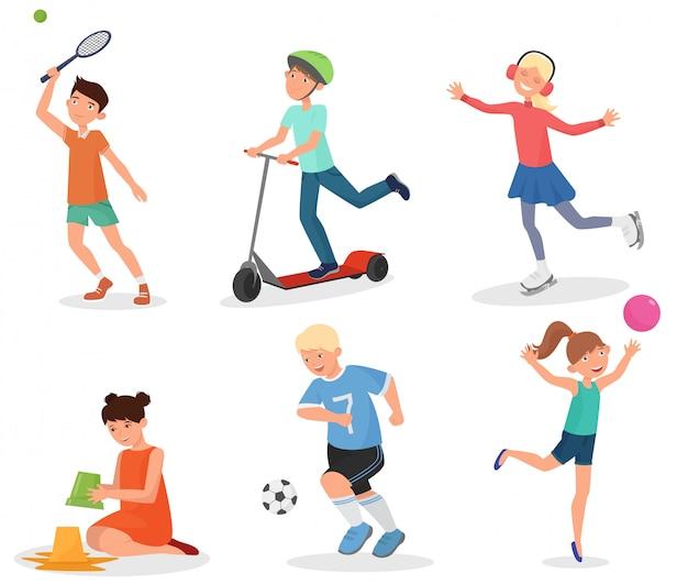 Schulkinder spielen und sport treiben Premium Vektoren